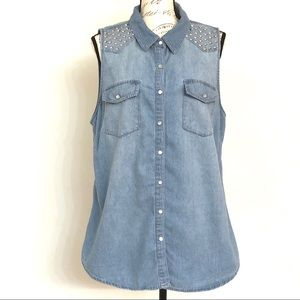 Forever 21 Sleeveless Chambray Top w/Stud Details